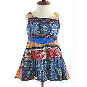 Vestido Chica de Enrejado Estampado Algodón Sin Mangas Verano