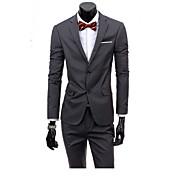 メンズ ワーク 春 夏 スーツ,シンプル ノッチドラペル ソリッド レギュラー ロングパンツ