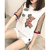 レディース お出かけ カジュアル/普段着 夏 Tシャツ(21) パンツ スーツ ラウンドネック フラワー