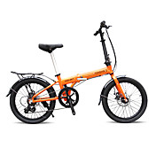 折りたたみ自転車 サイクリング 7スピード 20 inch 40ミリメートル 男性 婦人向け ユニセックス 大人 SHIMANO 30 ダブルディスクブレーキ ノーダンパー アルミ合金フレーム 折りたたみ式 普通 アルミニウム 白 ブラック オレンジ