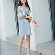 Mujer Recto Vestido Casual/Diario Simple,Bloques Escote Redondo Sobre la rodilla Manga Corta Algodón Verano Tiro Medio Microelástico Fino