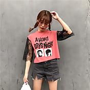 レディース カジュアル/普段着 Tシャツ,シンプル クルーネック ソリッド アクリル 半袖
