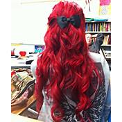 Mujer Pelucas sintéticas Encaje Frontal Medio Largo Ondulado Rojo Entradas Naturales Peluca natural Las pelucas del traje