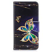 Para iPhone X iPhone 8 Carcasa Funda Soporte de Coche Cartera con Soporte Flip Diseños Cuerpo Entero Funda Mariposa Dura Cuero Sintético