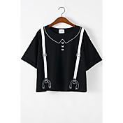 レディース 夏 Tシャツ,シンプル キュート ストリートファッション シャツカラー ソリッド プリント コットン 半袖 スモーキー ミディアム