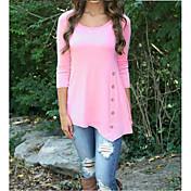 Mujer Simple Casual/Diario Otoño Camiseta,Escote Redondo Un Color Manga Larga Algodón Fino