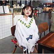 Mujer Simple Casual/Diario Primavera Camisa,Escote en Pico Floral Manga Larga Algodón