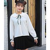 Mujer Simple Bonito Casual/Diario Primavera Verano Camisa,Escote Redondo Un Color Manga Larga Otro Fino