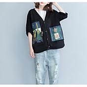 レディース カジュアル/普段着 Tシャツ,シンプル Vネック プリント コットン 七部袖