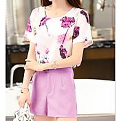 Mujer Primavera Verano T-Shirt Pantalón Trajes,Escote Redondo Manga Corta Microelástico