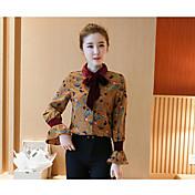 Mujer Simple Casual/Diario Camiseta,Cuello Barco Estampado Manga Larga Algodón