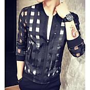 メンズ カジュアル/普段着 夏 ジャケット,シンプル ラウンドネック プリント レギュラー 長袖