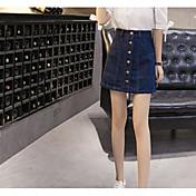 Mujer Casual/Diario Sobre la Rodilla Faldas Verano Un Color