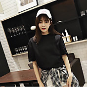Mujer Simple Playa Camiseta,Escote Redondo Un Color Manga Corta Algodón