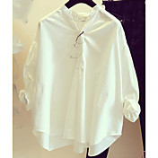 Mujer Simple Casual/Diario Primavera Verano Camisa,Escote Chino Un Color Manga Larga Algodón Fino