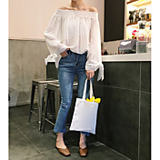 Mujer Simple Casual/Diario Camiseta,Escote Barco Un Color Manga Larga Algodón