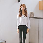 Mujer Simple Casual/Diario Camiseta,Escote en Pico Un Color Manga Larga Algodón