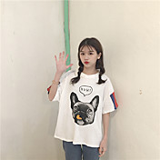 レディース カジュアル/普段着 Tシャツ,シンプル ラウンドネック プリント アニマルプリント コットン 半袖