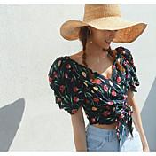 レディース カジュアル/普段着 夏 シャツ,シンプル Vネック フラワー コットン 半袖