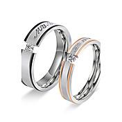 カップル用 バンドリング 婚約指輪 キュービックジルコニア 円形 ステンレス鋼 キュービックジルコニア 円形 ジュエリー 用途 結婚式 婚約 日常