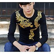 メンズ 夏 Tシャツ,シンプル ラウンドネック プリント コットン その他 長袖