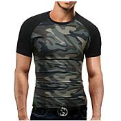 Hombre Simple Tallas Grandes Verano Camiseta,Escote Redondo Bloques Manga Corta Algodón Poliéster Medio