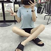 レディース カジュアル/普段着 Tシャツ,シンプル ラウンドネック ソリッド コットン 半袖 薄手