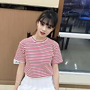 Mujer Simple Bonito Casual/Diario Primavera Verano Camiseta,Escote Redondo A Rayas Manga Corta Algodón Fino