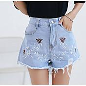 Mujer Sencillo Tiro Alto Microelástico Vaqueros Shorts Pantalones,Perneras anchas Estampado