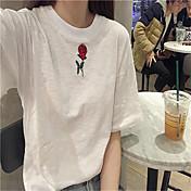 レディース カジュアル/普段着 春 Tシャツ,シンプル ラウンドネック フラワー コットン 半袖