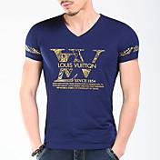 メンズ 夏 Tシャツ,シンプル ストリートファッション 活発的 Vネック ソリッド 幾何学模様 レタード コットン 半袖 スモーキー ミディアム