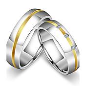 カップル用 カップルリング バンドリング 指輪 シンプルなスタイル ビンテージ キュービックジルコニア チタン鋼 円形 ジュエリー 用途 結婚式 パーティー 誕生日 婚約