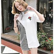 レディース お出かけ Tシャツ,ストリートファッション ラウンドネック フラワー カラーブロック その他 半袖