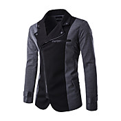 メンズ カジュアル/普段着 冬 ブレザー,ストリートファッション シャツカラー カラーブロック レギュラー ポリエステル 長袖