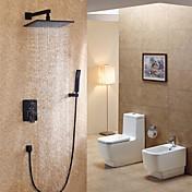Moderne / Nutidig Moderne Stil Vægmonteret Regnfald Vægmontering with  Keramik Ventil Enkelt håndtag fire huller for  Maleri , Brusehaner