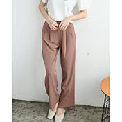 Mujer Sencillo Alta cintura Inelástica Corte Ancho Pantalones,Holgado Un Color