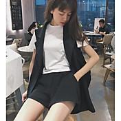 レディース 日常 カジュアル 夏 Tシャツ(21) パンツ スーツ,カジュアル ラウンドネック カラーブロック 半袖 マイクロエラスティック