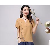 Mujer Sexy Simple Bonito Diario Casual Camiseta,Escote en Pico Un Color Bordado Manga Corta Algodón Poliéster