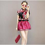 レディース 日常 カジュアル 夏 ブラウス ドレス スーツ,カジュアル Vネック プリント 半袖 マイクロエラスティック