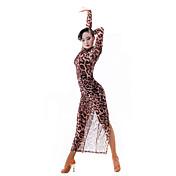ラテンダンス 女性用 ダンスパフォーマンス チュール 1個 長袖 ドレス