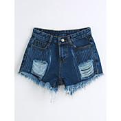 Mujer Adorable Sencillo Tiro Medio Microelástico Vaqueros Shorts Pantalones,Delgado Un Color rasgado