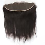 8aブラジルレミー人間の髪のシルクストレートフリー部分13 * 4耳から耳への耳赤ちゃんの髪と正面の閉鎖100%未処理の自然な黒の人間の髪