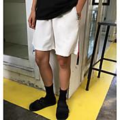 Hombre Sencillo Tiro Medio Microelástico Shorts Pantalones,Corte Recto Un Color