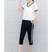 Mujer Casual Activo Diario Casual Verano T-Shirt Pantalón Trajes,Escote Redondo Un Color A Rayas Bloques Manga Corta Microelástico