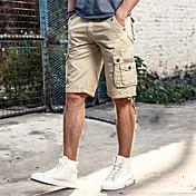 Hombre Sencillo Tiro Medio Inelástica Corte Ancho Shorts Pantalones,Holgado Un Color De Gran Tamaño
