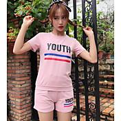 Mujer Simple Otros Casual Verano Camisas Pantalón Trajes,Escote Redondo Un Color Letra Manga Corta