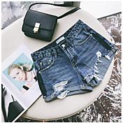 Mujer Sexy Adorable Alta cintura Microelástico Shorts Pantalones,Corte Recto Un Color Vaqueros rasgado