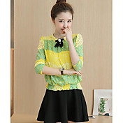 Mujer Casual Diario Casual Primavera T-Shirt Falda Trajes,Escote Redondo Estampado Manga Larga Microelástico