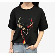 レディース カジュアル/普段着 夏 Tシャツ,シンプル ラウンドネック ソリッド プリント コットン 半袖 ミディアム