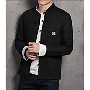 Hombre Simple Casual/Diario Trabajo Camisa,Escote Chino Un Color Manga Larga Algodón Lino Otro